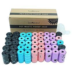 Scenereal CO.Hundekotbeutel, biologisch abbaubar mit Spender 45Rollen/900Stück Abfallbeutel dick und undurchlässig bunt (schwarz, blau, rosa, lila)