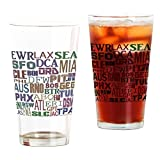 CafePress Airport Codes Pint-Glas, 473 ml Trinkglas farblos