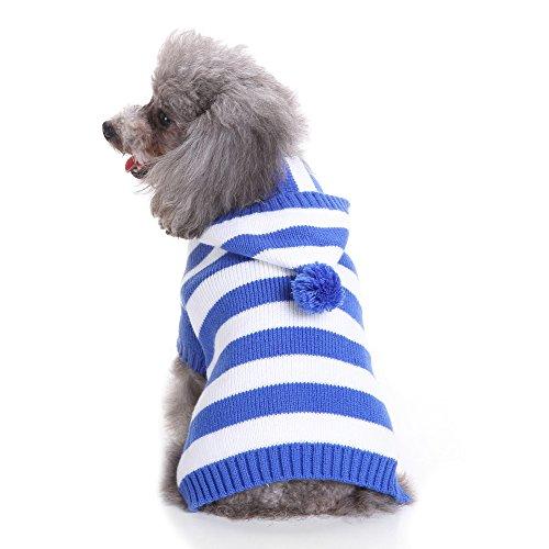 S-Lifeeling Blau und Weiß Gestreift Hund Pullover Urlaub Halloween Weihnachten Haustier Kleidung Angenehm Weiches Hund Kleidung, Dog - Back Length 14