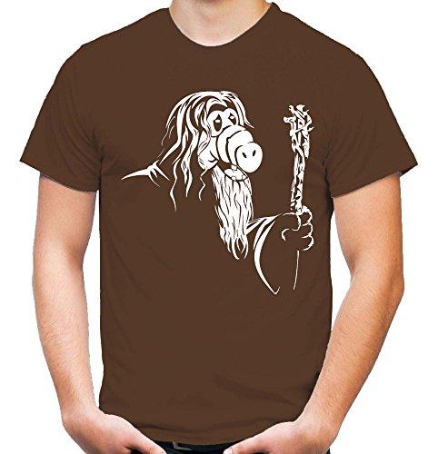 Gandalf Männer und Herren T-Shirt | Spruch Alf Outfit Geschenk (L, Braun)