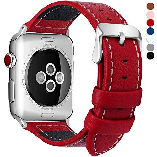 Fullmosa kompatibel Apple Watch Armband in 7 Farben, Uhrenarmband 38/42mm Grobe Litschi Lederarmband für iwatch Series 3/2/1, Rot 38mm -
