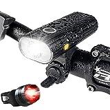 Luz Bicicleta, Luces Bicicleta Recargable USB, Lámpara Bicicleta LED Impermeable, 800 Lúmenes Súper Potente, 5 Modos Iluminación, Luces Bicicleta Delantera y Trasera Kit