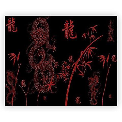 Rot Dragon China Acrylglas Wand Kunst -70cm x 56cm