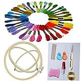 Faylapa Herramienta de Punto de Cruz Kit con 3 Aros Bordado, 36 Colores de Hilo, Tela de punto cruz, Juego de agujas y otra herramienta de bordado