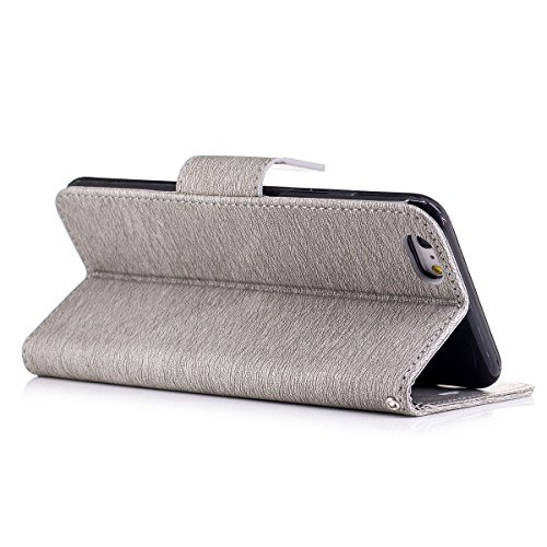 iPhone 6 Plus Custodia, iPhone 6S Plus Cover Wallet, SainCat Custodia in Pelle Cover per iPhone 6/6S Plus, Anti-Scratch Protettiva Caso Elegante Creativa Dipinto Pattern Design PU Leather Flip Portafo grigio #2