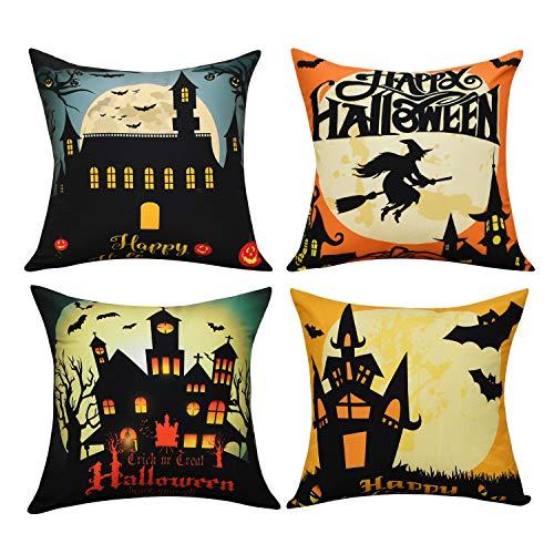 -Kissenbezüge mit Halloween-Motiv Schloss und Kürbis, Tagesdekoration, Sofakissenbezug, Kissenbezug mit Reißverschluss 18