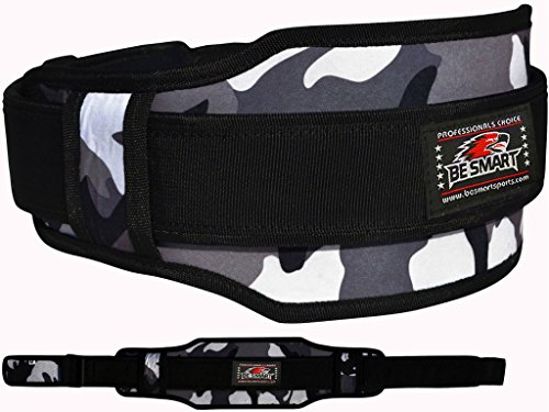 Weight-Lifting-Belt-Neoprene-Gym-Fitness-Workout-Double-Support-Brace-GRAY-CAMO-SMALL-27-33