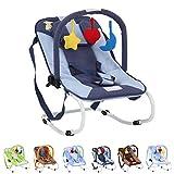 Infantastic Babywippe mit 3-Punkt-Sicherheitssystem mit stabilem Metallrohr-Gestell,  inkl. Spielbogen, 3 Spielzeuge, blau-Schaf