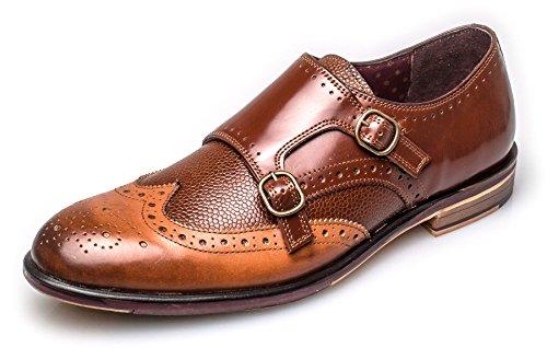 London Brogue richelieus Lincoln Monk Homme Cuir Mocassin Tan Leather