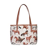 Signare Tapestry Shoulder Bag Tote Bag for Women with Running Horse Design (COLL-RHOR)