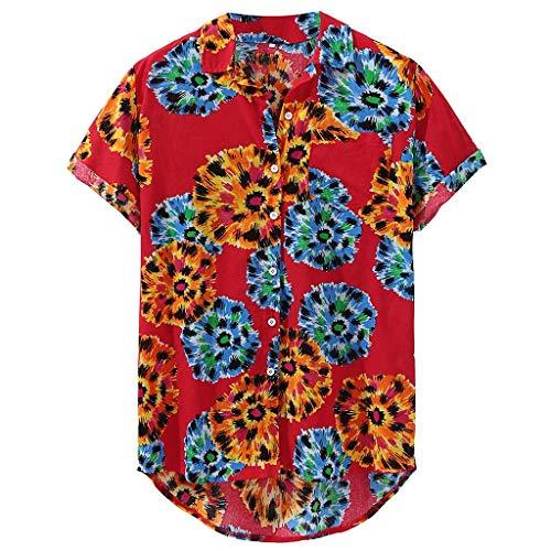 KUKICAT Shirt Herren Herren Print Hawaii Loose Beach Kurzarm Casual Button Shirt
