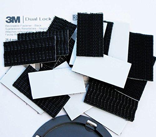 3M Dual Lock Tape Pads ~ schwarz stark ~, selbstklebend, 25mm breit ~ Lock Tape Klebeband, Filz, schwarz, 50mm x 25mm - 6 pads (Heavy-duty-tisch-pad)