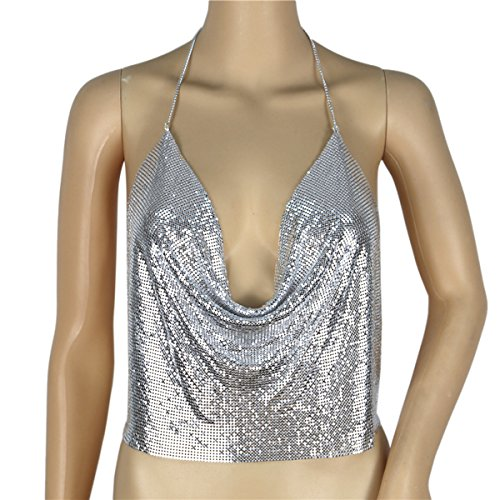 TININNA Frauen Sexy V-Ausschnitt Rückenfrei Metall Kette Sequined Halter Tank Top Metall Sequin Weste Crop Top (Silber) Silber
