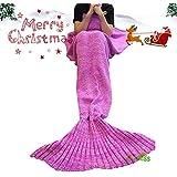 Meerjungfrau Schwanz Decke von U-miss | gemütlich weich Häkeln alle Jahreszeiten kuscheln Meerjungfrau Schlafsack | 71 x 35,Rosa