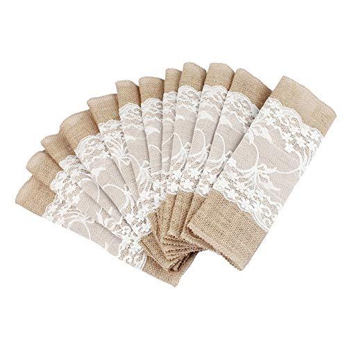 10 Stück Jute Tischläufer mit Spitze Sackleinen Meterware 30 cm breit Vintage Tischband für rustikale Hochzeit Fest...