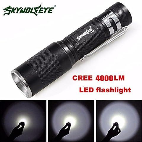 Internet 4000 Lumens Tactical LED Q5 Lampe de poche de police Zoomable Puissant militaire de grade étanche AA Torche En plein air 3 Modes Avec clip