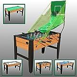 Poker Mania Shop TAVOLO MULTIGIOCO 6 IN 1 IN LEGNO Canestro Basket Rete Ping Pong Calcio Balilla tavolo da Biliardo Hockey