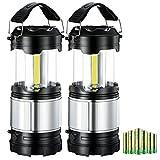 [2 Pack] Lampada Campeggio, 2 in 1 La Torcia Elettrica e La LED Lampada Campeggio, Incluso 6 batterie AA, LED COB Professionale, Design Pieghevole e Impermeabile, per Campeggio, Tenda, Pesca,Emergenza