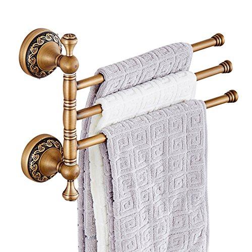 CASEWIND Drehbar Handtuchhalter mit 3 Stange, Besteht aus Messing Antik Europäisch Stil für Badezimmer, Wandmontieren Bohren (Handtuchhalter Drehbarer)