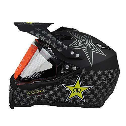 Woljay Casques motocross Casque sport moto sport double sport Saleté Bicyclette VTT et UTV Certifié DOT Rockstar Noir (L)