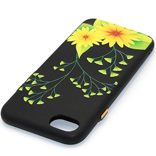 Coque pour iPhone 7 Plus,Étui iPhone 7 Plus Case,ETSUE Coque iPhone 7 Plus Slicone TPU Cover Housse de Téléphone avec Joli FleurTournesol fleur de pêcher en Relief ave Fond Noir Ultra Mince Coque iPho Fleur jaune