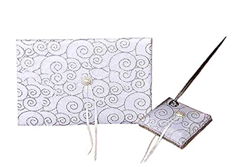 Silver Wedding Guest Book and Pen and Pen Holder Set with Diamante Boxed