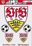 Herma 1990 Selbstklebende Fensterbilder Ohne Klebstoff, Fussball Bundesliga Verein Vfb Stuttgart, Motiv logo mit 2 Bällen sichtbar von innen und Außen