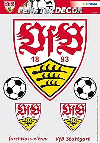 Herma 1990 Selbstklebende Fensterbilder Ohne Klebstoff, Fussball Bundesliga Verein Vfb Stuttgart, Motiv logo mit 2 Bällen sichtbar von innen und (1990 Verein)