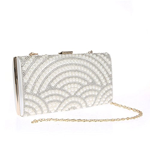 KAXIDY Damen Satin Handtasche Nachgemachte Perle Clutch Schultertasche Abendtasche Silber
