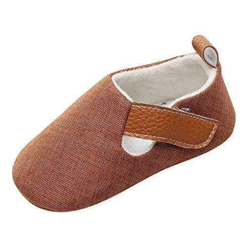 Kleinkind Schuhe für Kinder/Dorical Unisex Babyschuhe Jungen Mädchen Neugeborene Baby Babyklettschuh Weiche Unifarben Hausschuhe Freizeitschuhe Krabbelschuhe(Braun,20.5 EU)