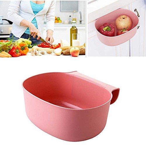 Gaddrt Umwelt hängende Küchenschrank-Tür-Abfall-Gestell-Art-Speicher-Mülleimer Papierkorb (Pink)
