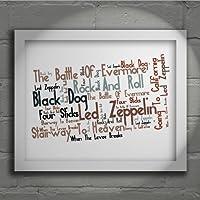 Led Zeppelin - IV - Firmato e numerato Edizione limitata tipografia muro arte Stampa Testo della canzone poster