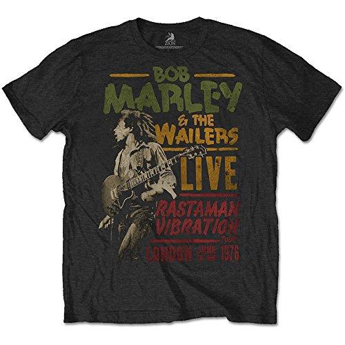 Bob Marley Rasta Man Vibration Tour T Shirt (Schwarz) Schwarz