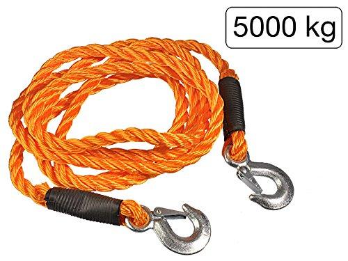 MS-Warenvertrieb Abschleppseil 4m - elastisch und robust - aus Kunstfaser Orange - Belastbarkeit max. 5000 kg
