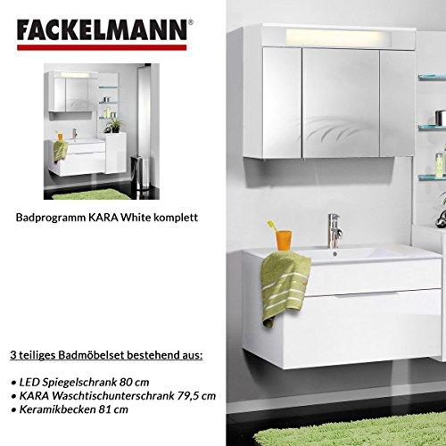 Fackelmann Badmöbel Set Kara 3-tlg. 80 cm weiß mit Waschtischunterschrank mit Keramikbecken & LED Spiegelschrank