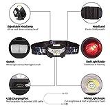 LE CREE LED USB wiederaufladbar Stirnlampe, 5 Lichtmodi, inklusive Rotlicht, inklusive USB Kabel, handfreie Kopflampe, LED Scheinwerfer, Ideal für Camping, Laufen, Jagd und Lesen, Campinglampe, Aussenleuchte - 6