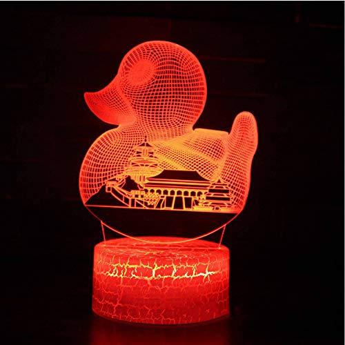 Notte Per Bambini 3D Night Light Usb Colorful Touch Button 3D Led Night Lights Anatra City Building Modellazione Kids Desk Lamp Camera Da Letto Home Lighting Decor