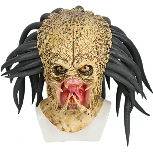 e Deluxe Latex 1:1 Replik Helm Jungle Hunter Verrücktes Kleid Merchandise für Erwachsene Halloween (Predator Halloween-maske)