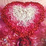 Upxiang 500 Stück Valentinstag Rosenblüten / Romantisch Rosenblüten / Silk Künstliche Rosenblätter / Streudeko für Hochzeit Party Valentinstag Heiratsantrag Streublumen Tischdeko (Weinrot) - 3