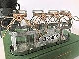 Vier Vintage Glas Schule Milchflaschen in Kiste Knospe Vase Drahtkorb Hochzeiten