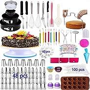 Cake Decorating Supplies 2020 Upgrade 367 PCS Baking Set with Springform Cake Pans Set,Cake Rotating Turntable