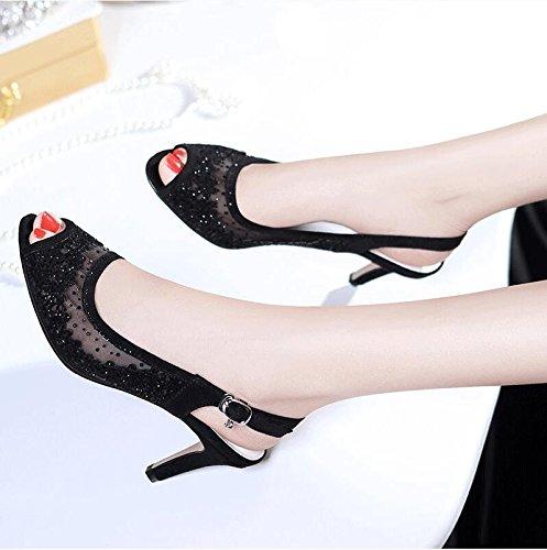La mode des femmes d'été confortables sandales hauts talons,blanc 37 Black