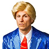 Schlagerstar Perücke - blond - Trump Toupet Faschingsperücke Föhnfrisur Männerperücke Schönling Kurzhaarperücke Seitenscheitel Donald Herrenperücke