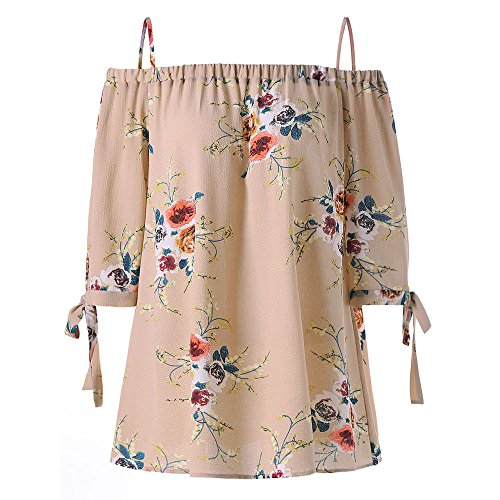 Plus Size Floral Print Cold Shoulder Blouse EUZeo Mode Sexy Damen Casual Kurzarm Tops Camis (5XL, Beige) (Kleid Size Plus Shirt Frauen Für)