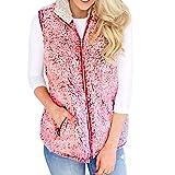 MRULIC Weste Fleece Steppweste Damen Daunenweste Strickweste ärmellose Weste Outerwear Hoody Kapuze Coat(Rosa,EU-40/CN-XL)