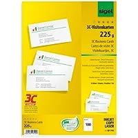 Sigel LP795 Lot de 100 Cartes de visite, 3C, 8,5 x 5,5 cm, 225 g