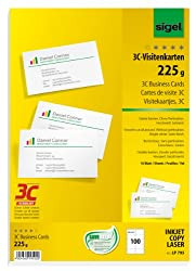 SIGEL LP795 Visitenkarten 3C, 100 Stück (10 Blatt), hochweiß, glatter Schnitt rundum, 225 g, 85x55 mm - weitere Stückzahlen