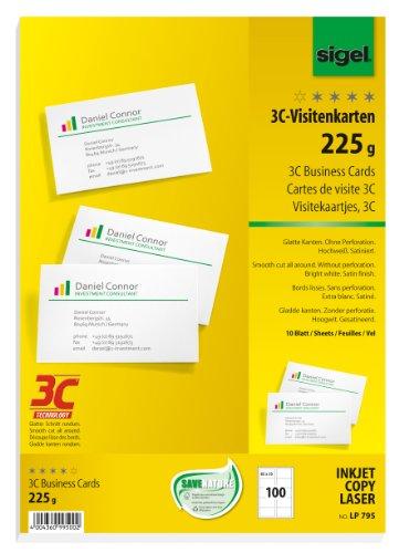 SIGEL LP795 Visitenkarten 3C, 100 Stück (10 Blatt), hochweiß, glatter Schnitt rundum, 225 g, 85x55 mm - weitere Stückzahlen (Laser-inkjet-papier)