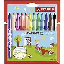 Felt Tip Pen - STABILO power max wallet of 12 assorted colours