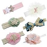 HBselect 6 Stück Stirnband mit Blumen Schleife Sterne mehrfarbiges und elastisches Haarband für Baby Mädchen Kleinkind
